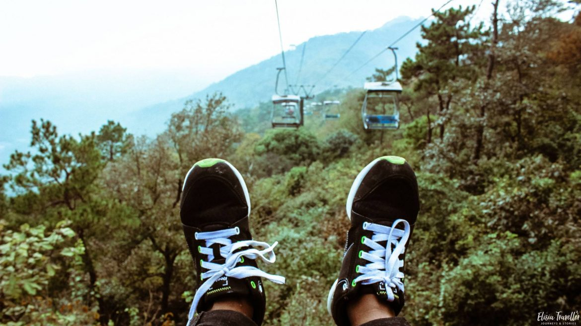 Me on a cable car at the Purple Mountains, Nanjing (China)