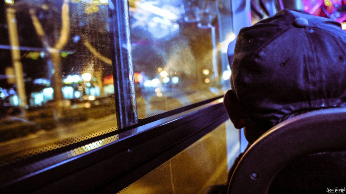 A man on a bus in Nanjing, China