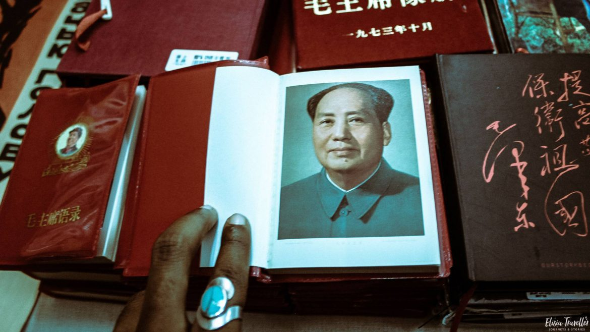 A Chairman Mao 'red book' at Librarie Avant Garde bookstore, China